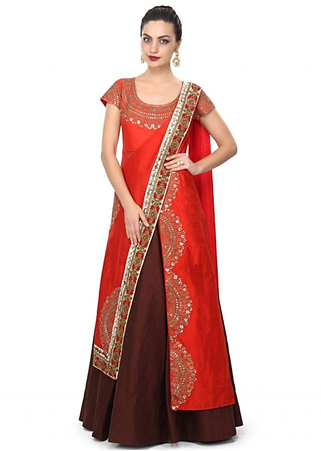Brown and red saree gown enhanced in sequin and zari embroidery only on Kalki