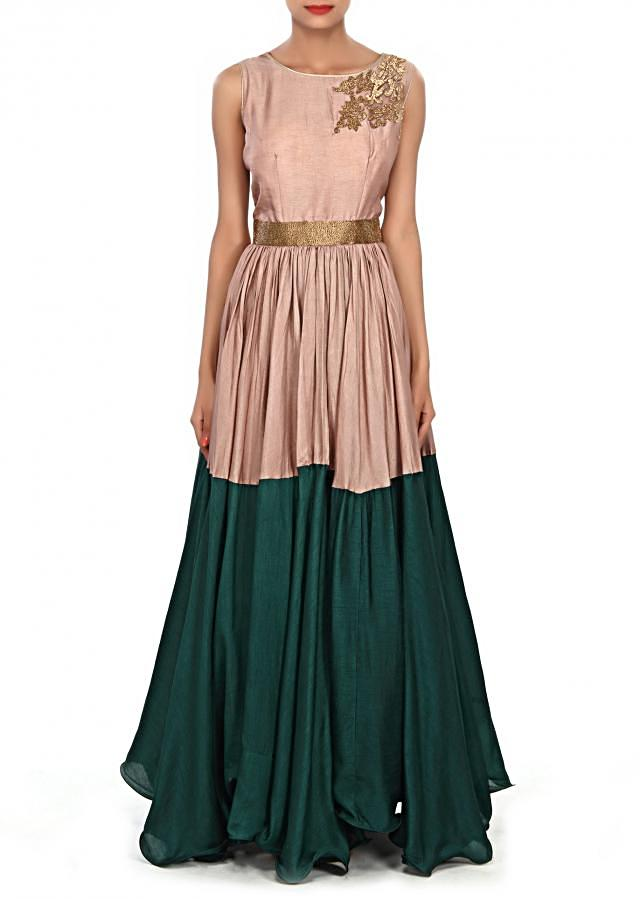 Brown and teal dress embellished in kardana embroidery only on Kalki