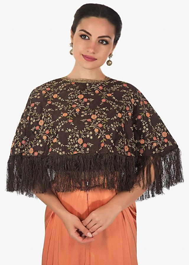Brown cape suit embellished in resham embroidery with dhoti pants only on Kalki