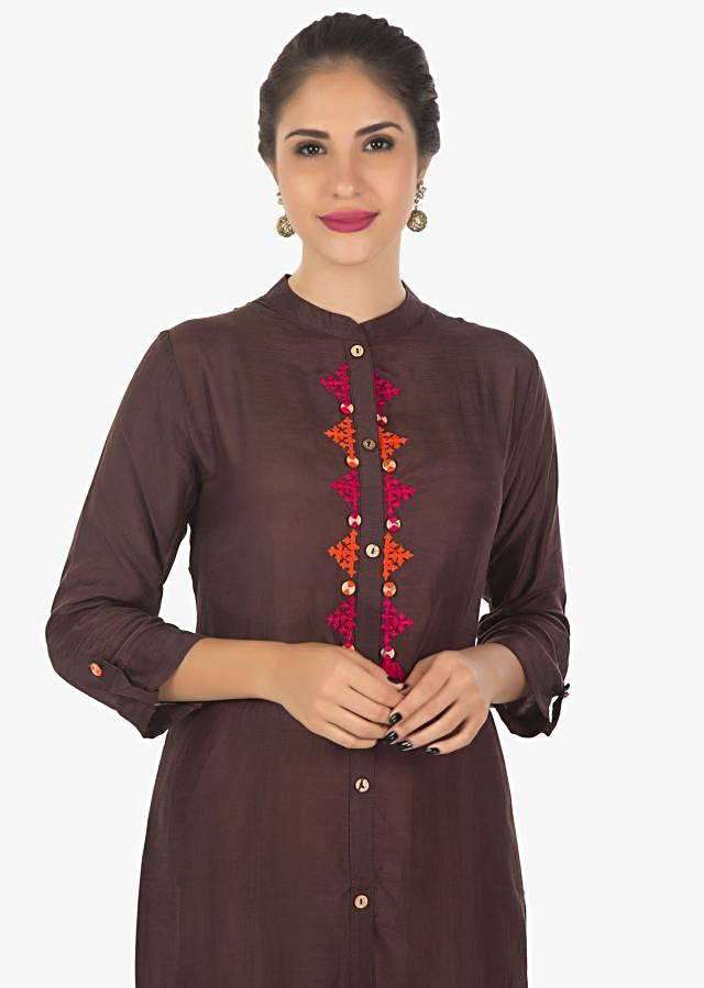 Brown chanderi cotton kurti with thread embroidery only on kalki