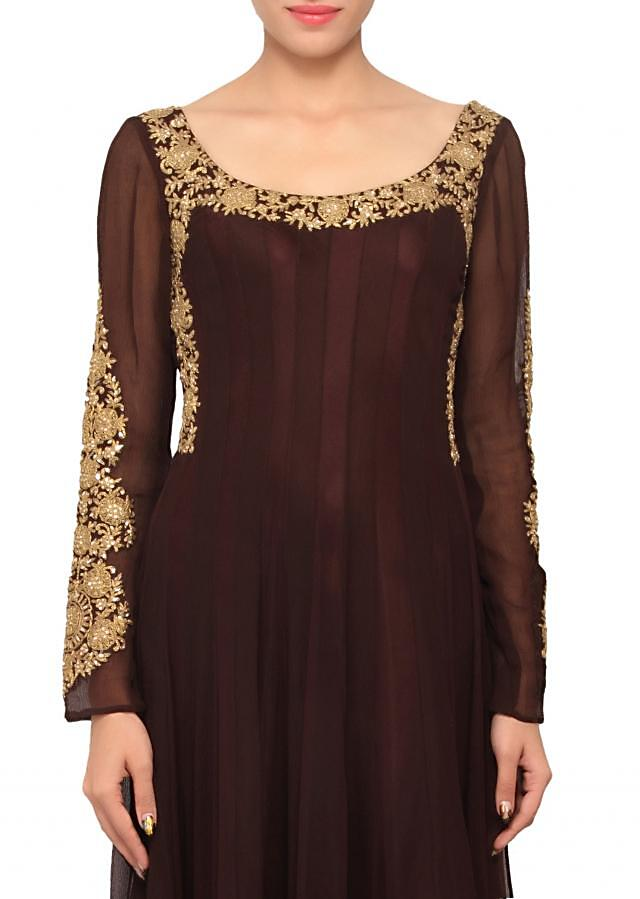 Brown coloured salwar suit with dupatta only on Kalki