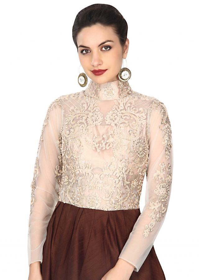 Brown gown features with embellished bodice in resham only on Kalki