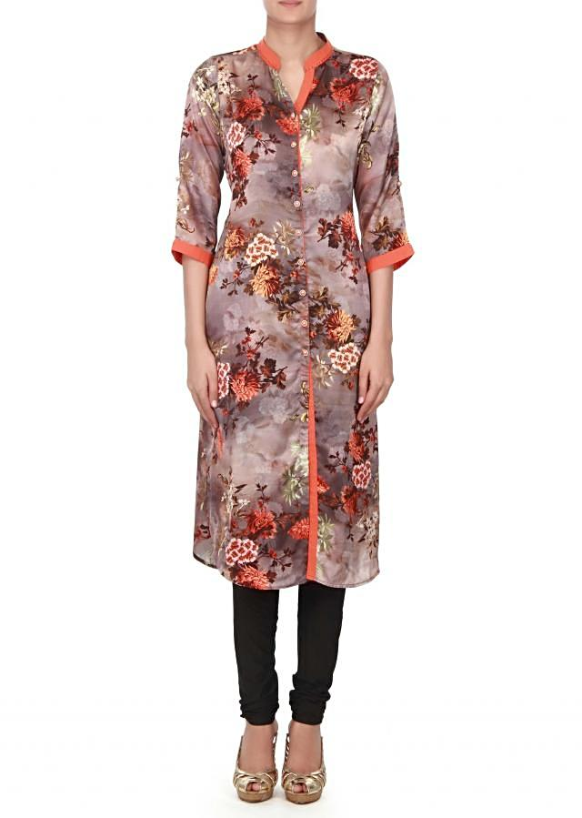 Brown kurti adorn in floral print only on kalki