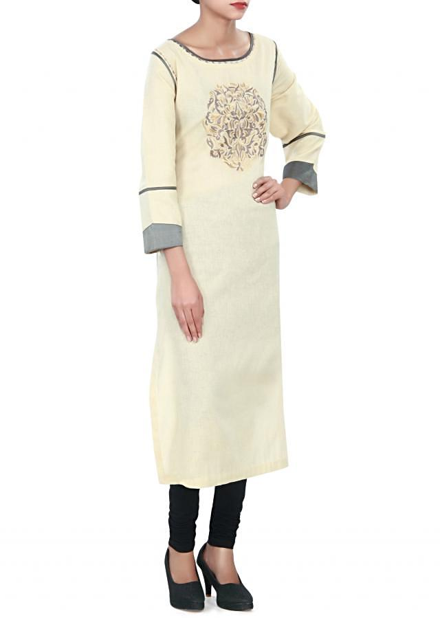 Brown kurti adorn in resham embroidery only on Kalki