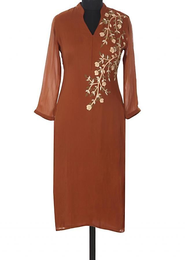Brown kurti adorn in zardosi and french knot embroidery only on Kalki