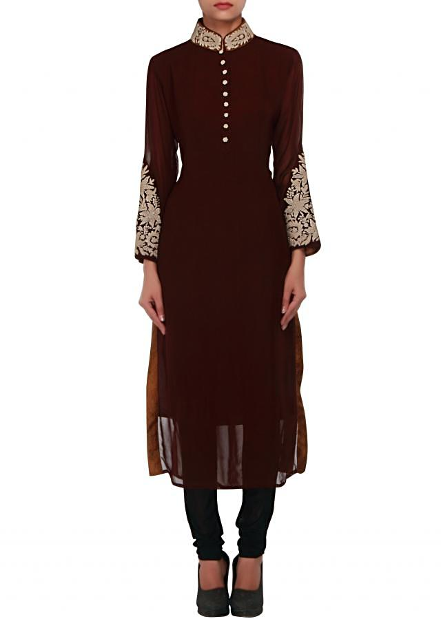 Brown kurti embellished in zari embroidery only on Kalki