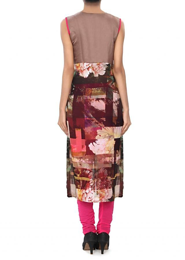 Brown kurti enhanced in abstract print only on Kalki