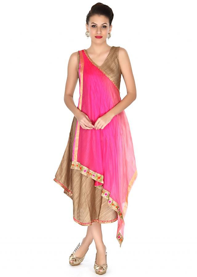 Brown kurti enhanced in shaded drape only on Kalki