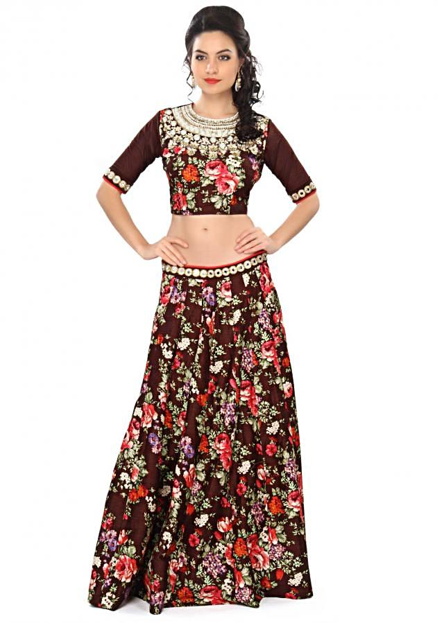 Brown lehenga embellished in print and mirror embroidery only on Kalki