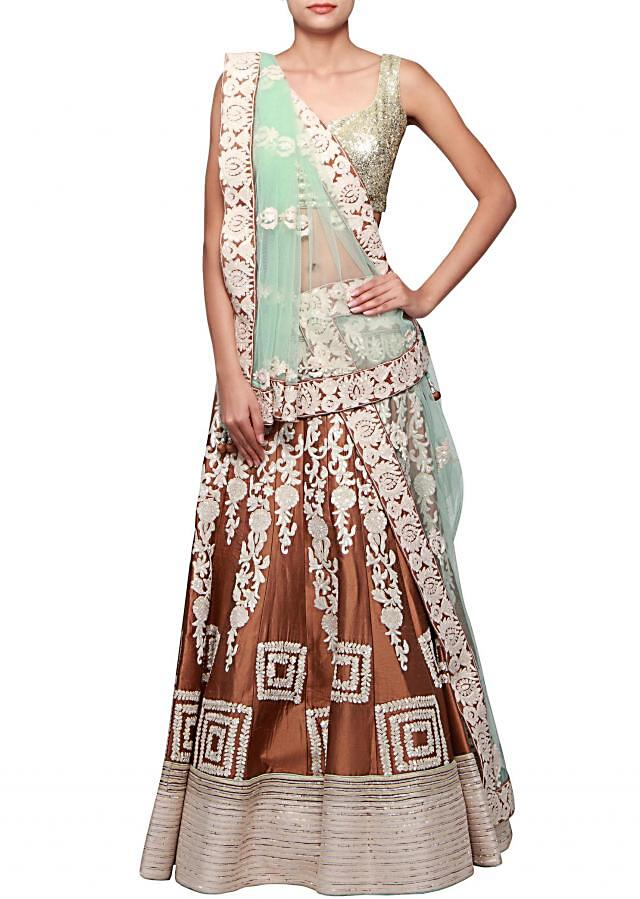 Brown lehenga embellished in thread embroidery only on Kalki