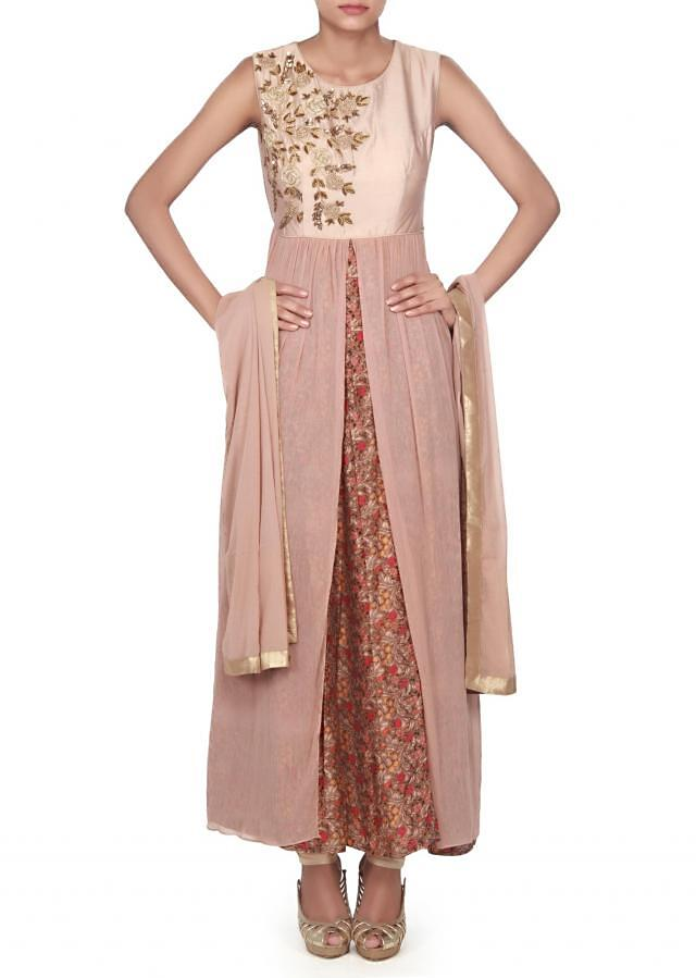 Brown printed anarkali suit embellished in zardosi embroidery only on Kalki