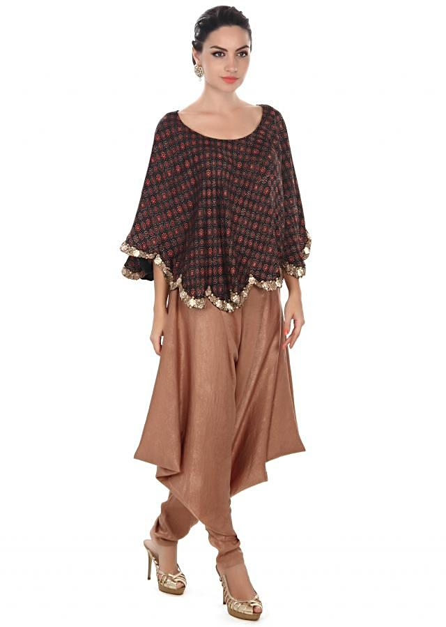 Brown printed cape matched with dhoti pants only on Kalki