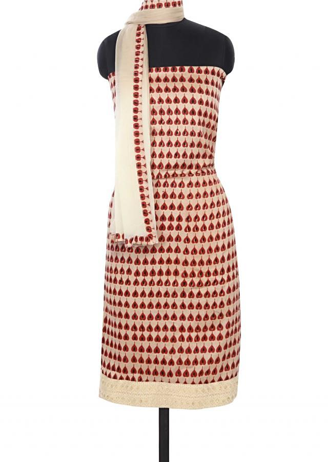 Brown printed unstitched suit with thread work only on Kalki