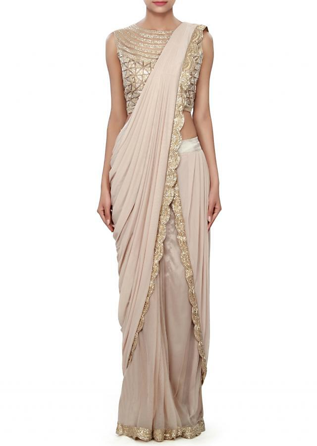 Brown saree gown adorn in cowl drape only on Kalki