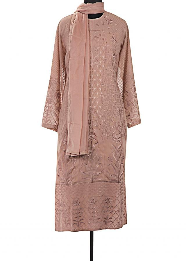 Brown semi stitched suit in resham jaal embroidery only on Kalki