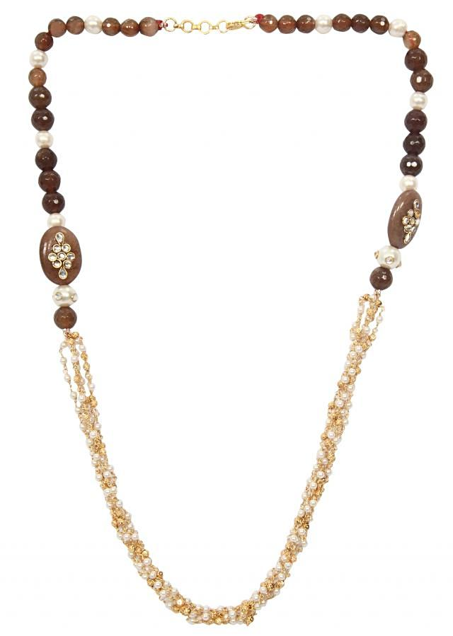 Brown shaded beads with front ganthan only on Kalki