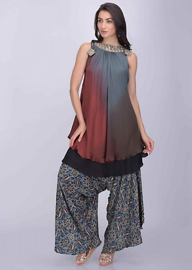 Brown Flared Kurta In Shaded Satin Crepe With Blue Printed Crepe Low Crotch Palazzo Pants Online - Kalki Fashion