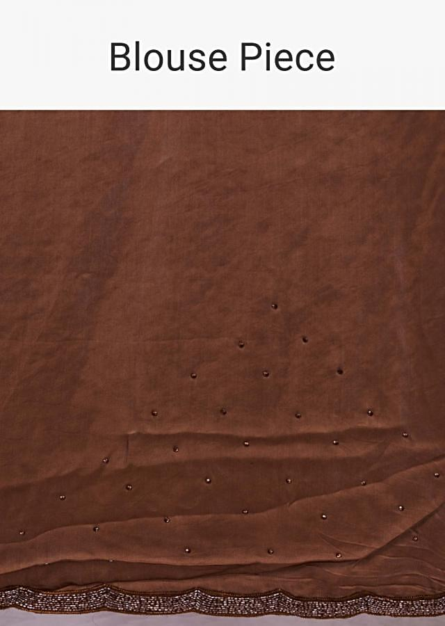 Brown Shaded Half And Half Saree In Net And Satin In Cord And Kundan Embroidery Online - Kalki Fashion