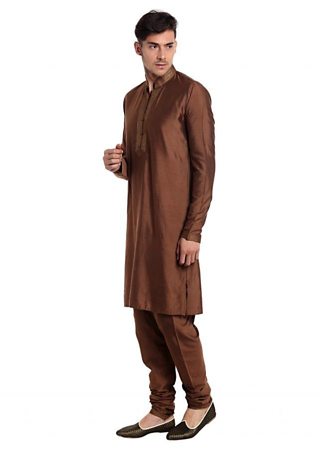 Brown Silk kurta and Blue Cotton Waistcoat Styled with Printed Ethnic Patterns only on Kalki