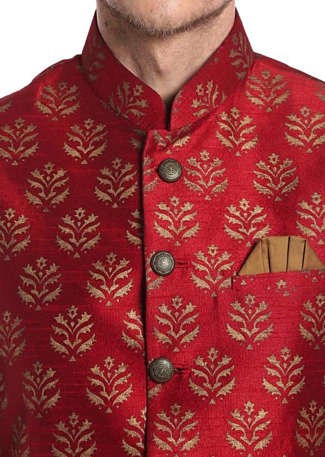 Brown Silk kurta with Printed Red Cotton Waistcoat Only on Kalki