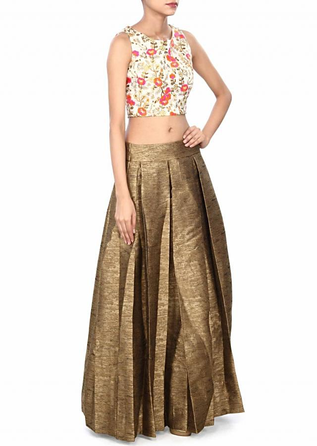 Brown skirt matched with embroidered crop top only on Kalki
