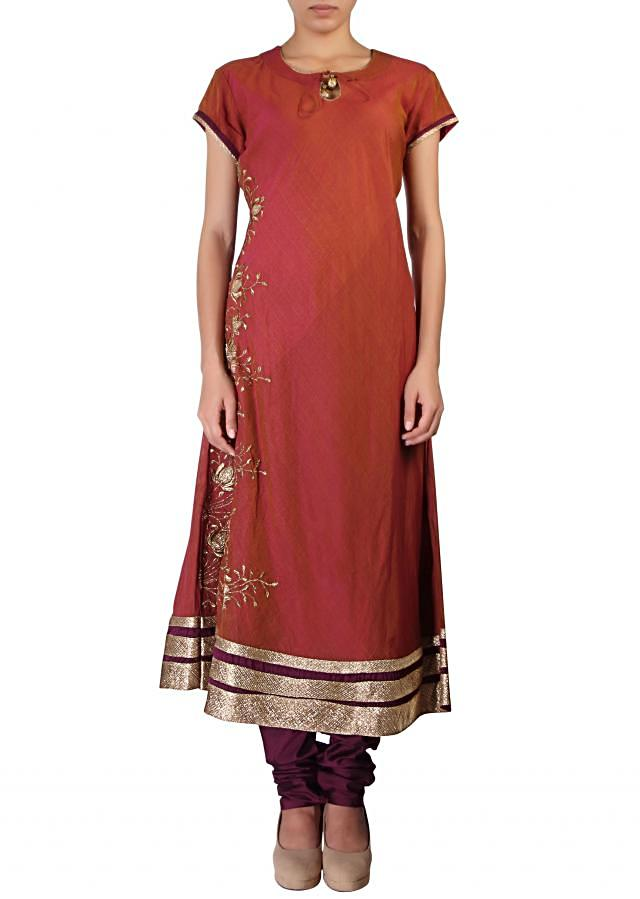 Brown straight fit suit embellished in zari embroidery only on Kalki