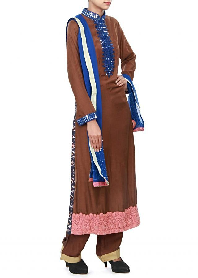 Brown straight suit enhanced in mirror and resham embroidery only on Kalki