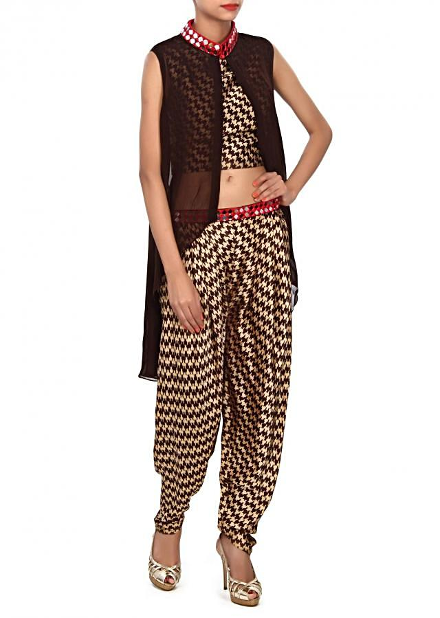 Brown suit embellished in mirror and zari embroidery only on Kalki