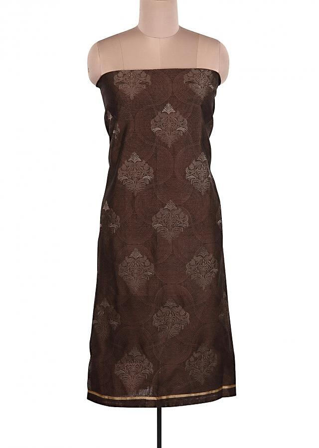 Brown Suit Embellished In Resham Embroidery Only On Kalki