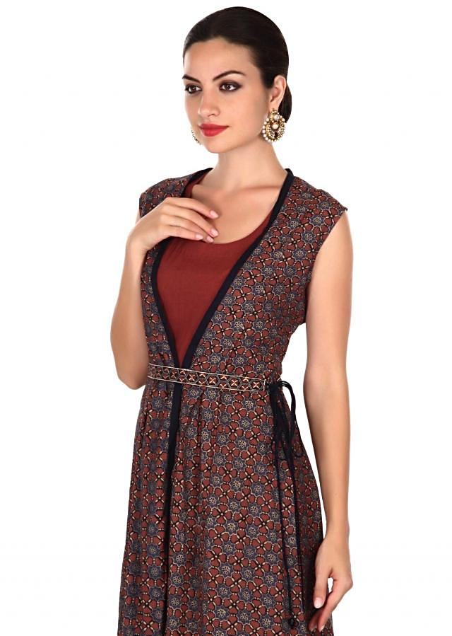 Brown suit featuring with long printed jacket only on Kalki