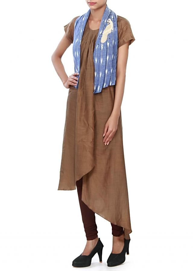 Brown suit matched with thread embroidered jacket only on Kalki