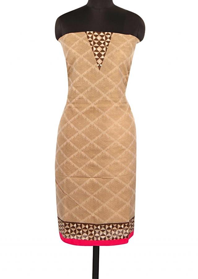 Brown unstitched suit with pink border only on Kalki