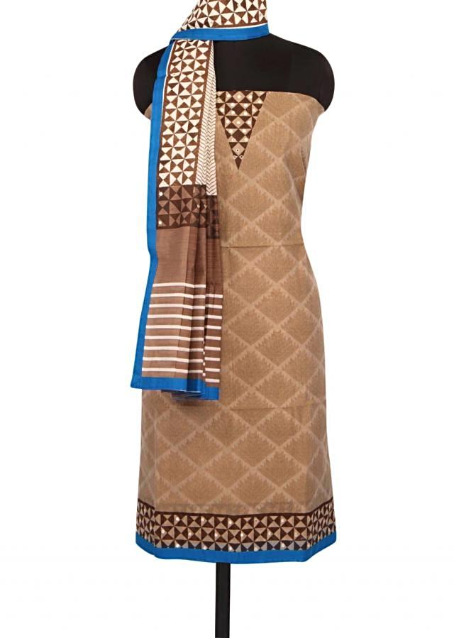 Unstitched printed suit in brown with mirror work only on Kalki
