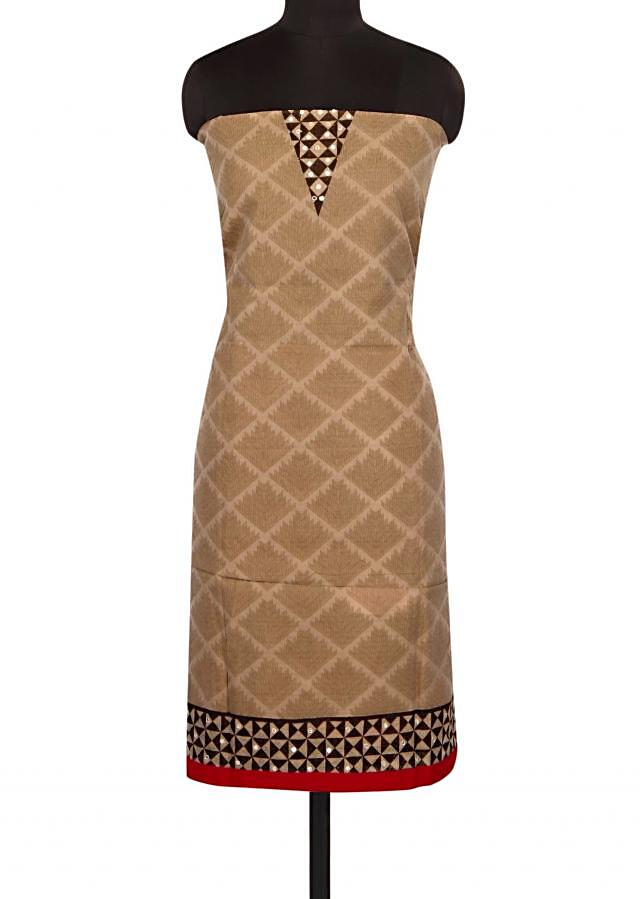 Brown and red unstitched printed suit in mirror work only on Kalki