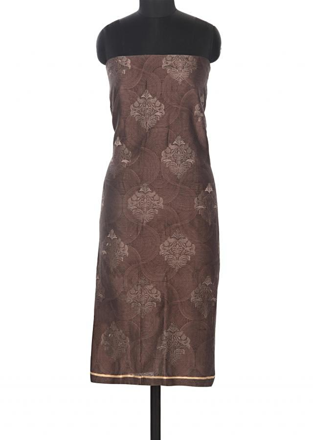 Brown unstitched suit adorn in print and resham embroidery only on Kalki