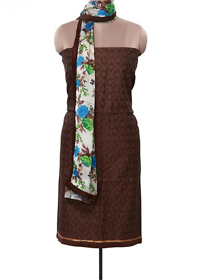 Brown unstitched suit adorn in thread embroidery only on Kalki