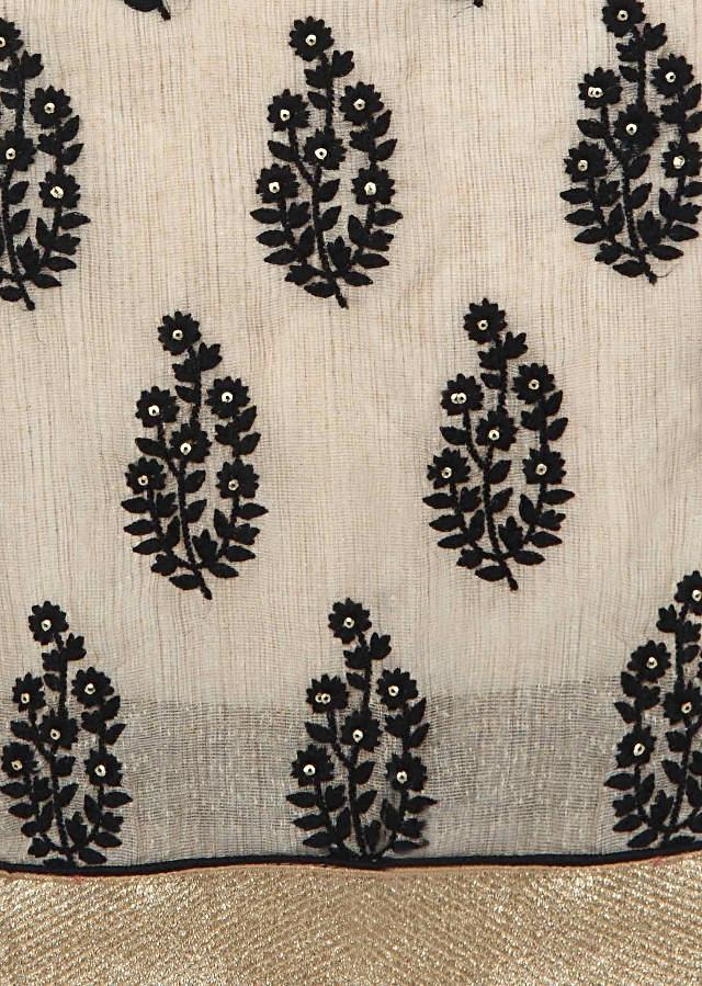 Brown unstitched suit enhanced in resham embroidered border