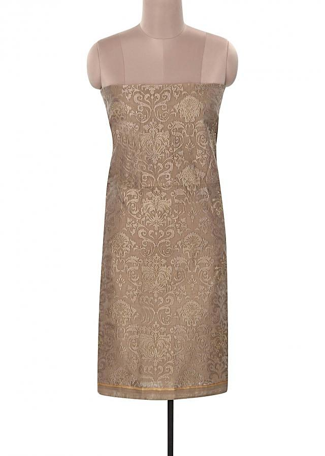 Brown unstitched suit features with resham embroidery only on Kalki