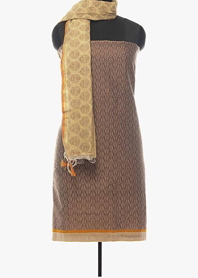 Brown unstitched suit with thread work and printed dupatta