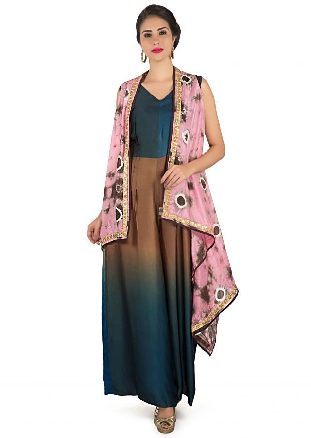 Brown And Blue Jumpsuit Matched With Printed Long Jacket Online - Kalki Fashion