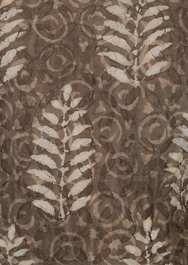 Brown and cream unstitched suit in patch work only on Kalki