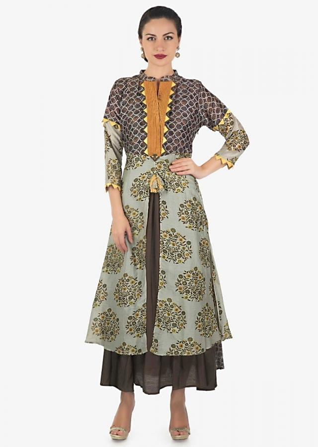 Brown and grey green double layer attach tunic in print and fancy tassel only on Kalki