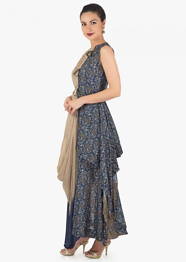 Brown and indigo printed tunic with asymmetric hem line and cowl drape only on Kalki