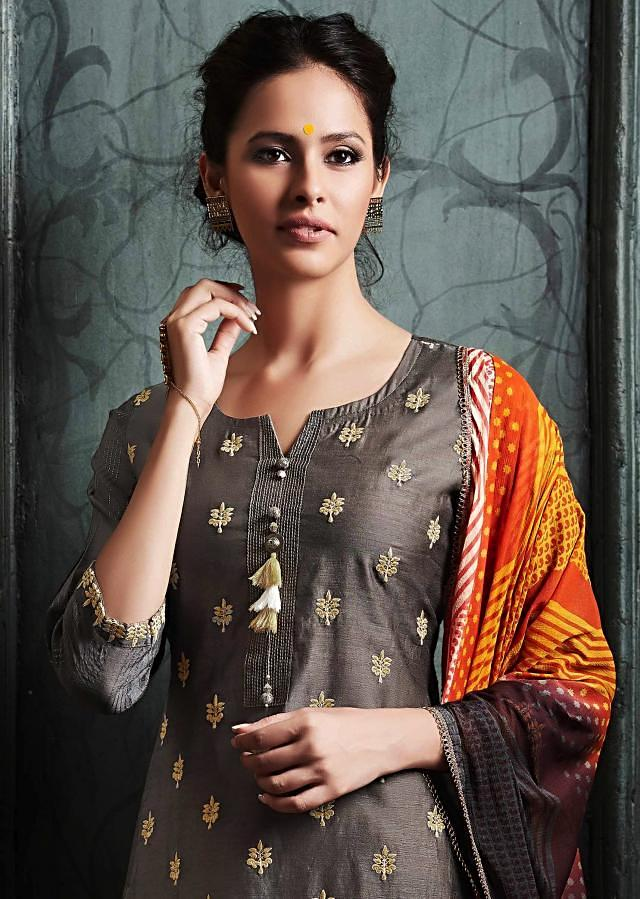 Brown and mustard double layer suit in resham and fancy tassel only on Kalki