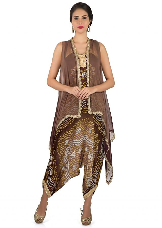 Brown bandhani jumpsuit with shaded jacket only on Kalki