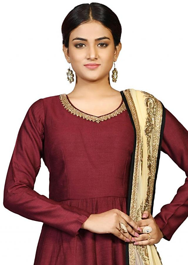 Brown chanderi suit with heavy dupatta featuring the zari embroidery only on Kalki