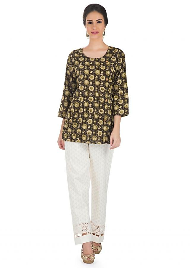 Brown Cotton Printed Ethnic Top  only on Kalki