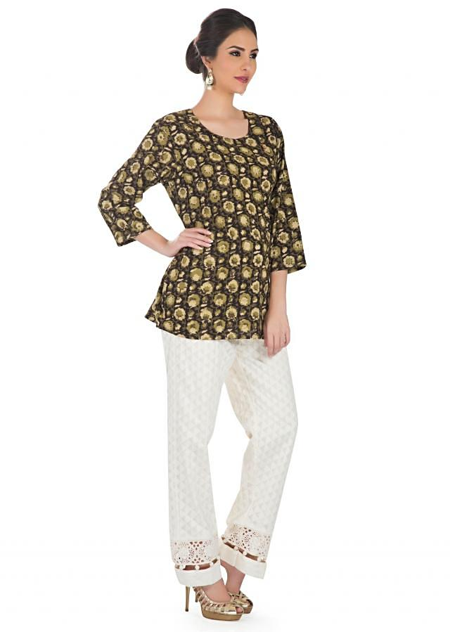 Brown Top In Cotton With Ethnic Print Online - Kalki Fashion