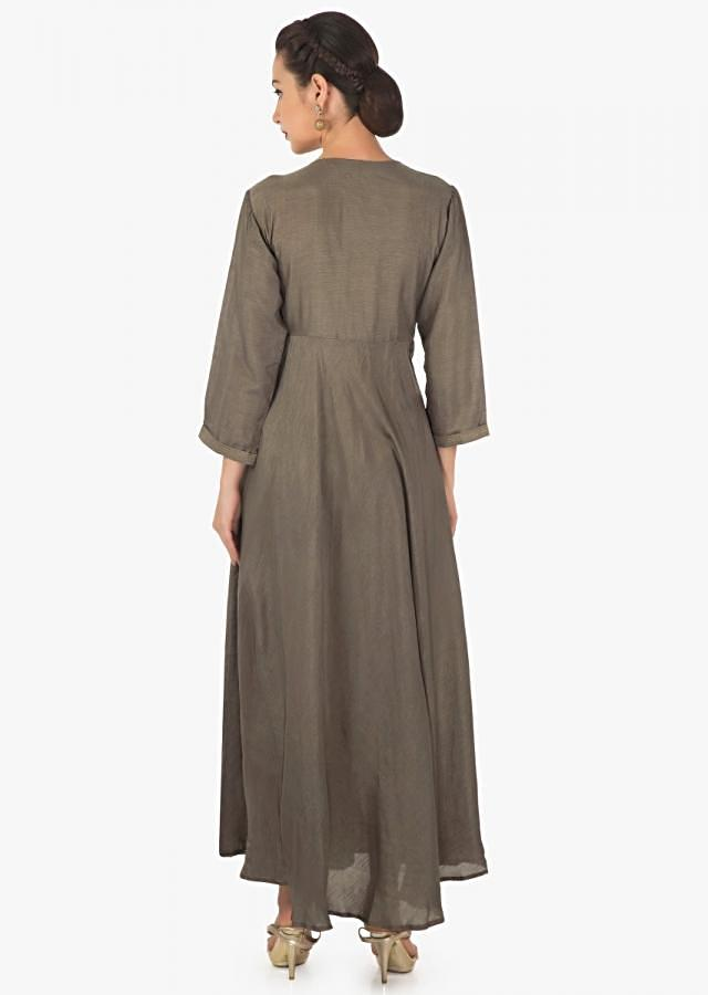 Brown long over lapping kurti in embroidered butti and fancy tassel only on Kalki