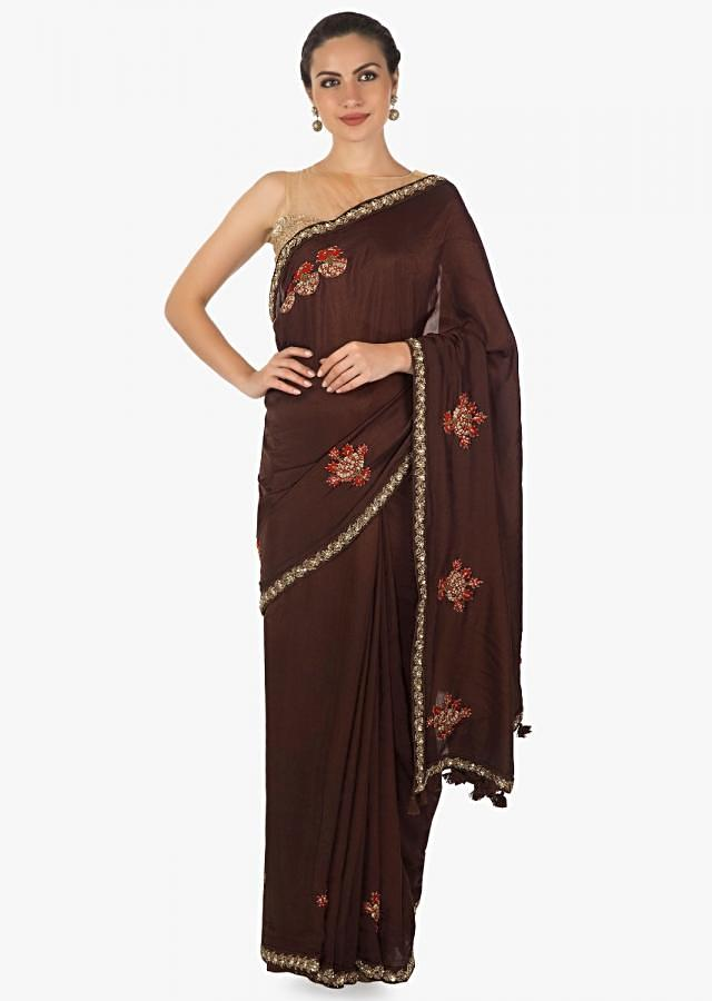 Brown Saree In Cotton Silk With Embossed Resham And Zardosi Online - Kalki Fashion